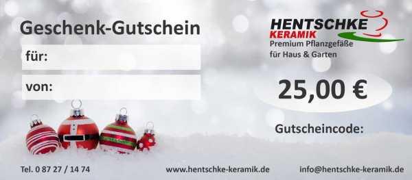 Hentschke Keramik Gutschein Weihnachten 25 €