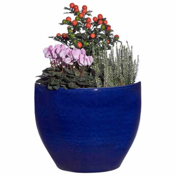 Hentschke Keramik Pflanzkübel Form 122 in effekt-blau