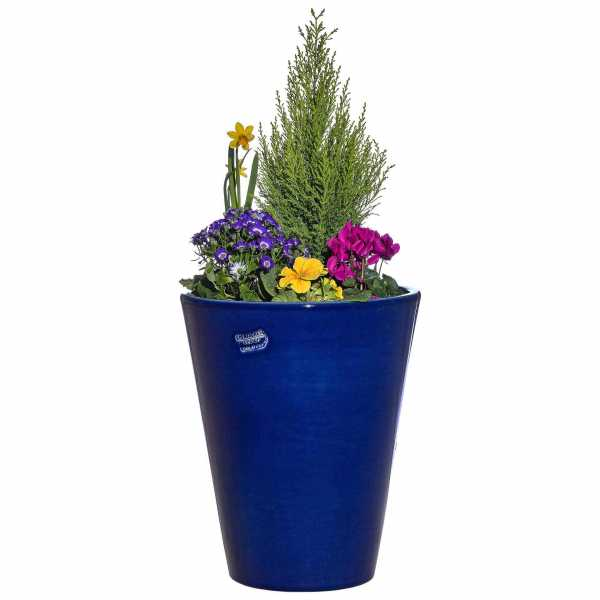 Hentschke Keramik Blumenkübel Form 008 in effekt-blau