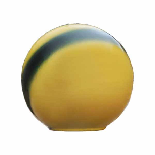 Hentschke Keramik Garten Deko Kugel Form 086 mit Streifen Farbe gelb
